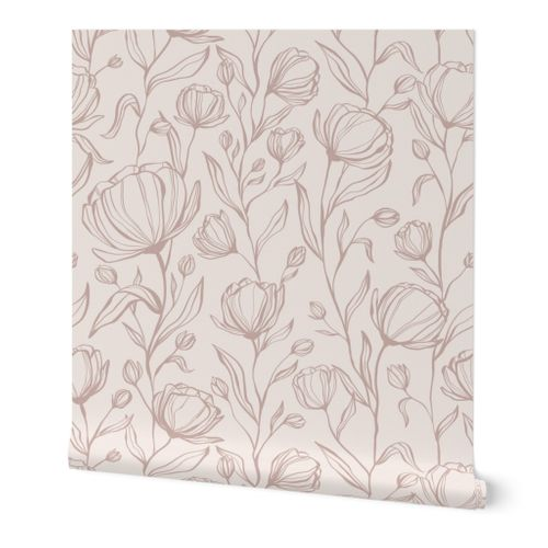 Climbing Floral - blush - large scale