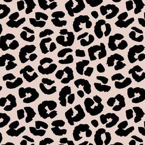 Inky texture leopard print boho summer animals print nursery trend bright summer pink on pale sand black