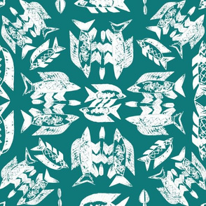 Protect Wild Ocean Fish White on Teal