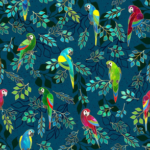 Gilded Macaws on Muted Blue by ArtfulFreddy