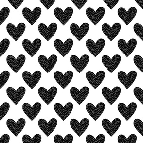 stitched hearts - black