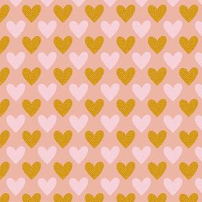 stitched hearts - peach