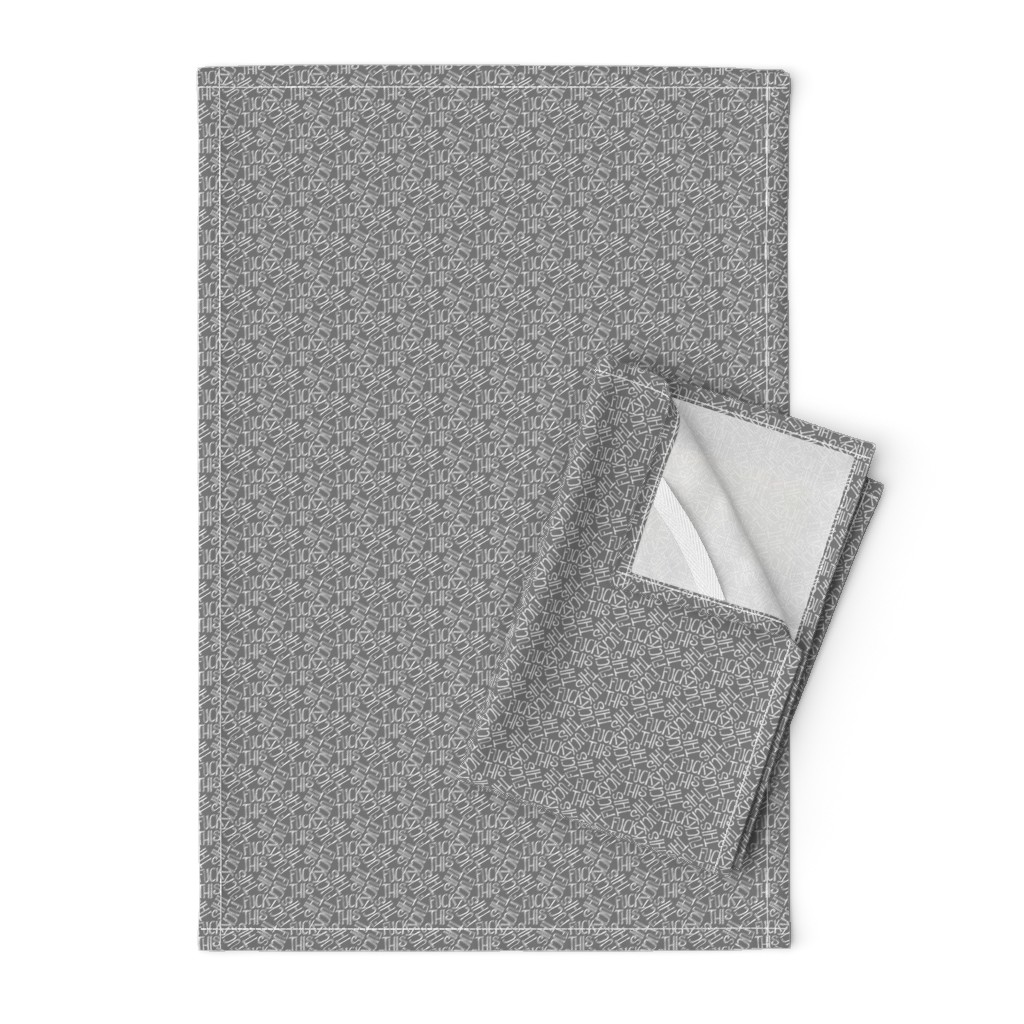 Orpington Tea Towels featuring Fuck This - grey by secretbean