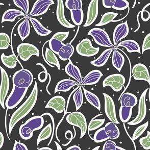 Art Deco Clematis, dark, purple, large
