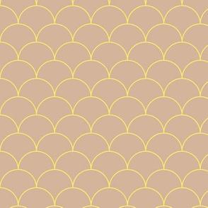 Minimalist scales Scandinavian retro mermaid abstract design modern neutral nursery beige latte yellow