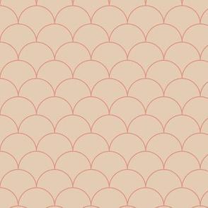 Minimalist scales Scandinavian retro mermaid abstract design modern neutral nursery beige latte stone red coral