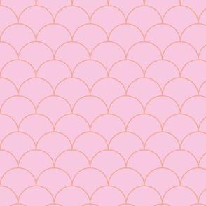 Minimalist scales Scandinavian retro mermaid abstract design modern neutral nursery pink coral