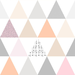 Quiet Triangles Wholecloth Quilt Top Wallpaper in Rose blush Grey Sand