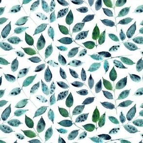 Silence in the forest - watercolor leaves - nature leaf pattern 310