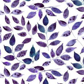 Amethyst Silence in the forest - watercolor leaves - nature leaf pattern