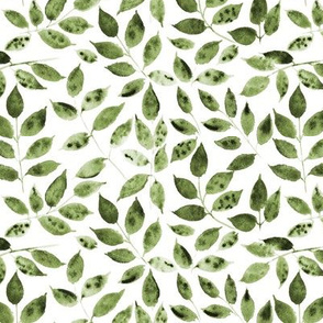 Khaki Silence in the forest - watercolor leaves - nature leaf pattern