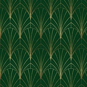 Art Deco Waterfalls // Green & Gold