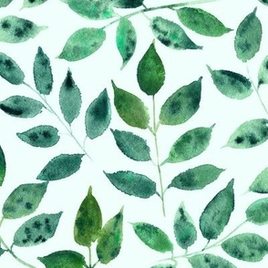 Silence in the forest - watercolor leaves - nature leaf pattern p310