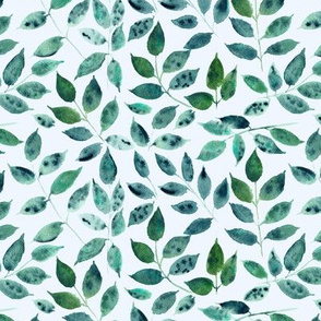Silence in the forest on light blue - watercolor leaves - nature leaf pattern 310