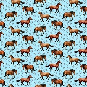 Horses and Horseshoes Blue