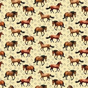 Horses and Horseshoes Cream Background