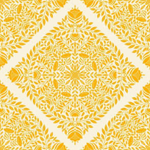 Bright yellow floral wreath, nature leaves and flowers, botanical pattern