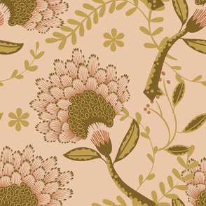 Basic vintage floral | creamy brown