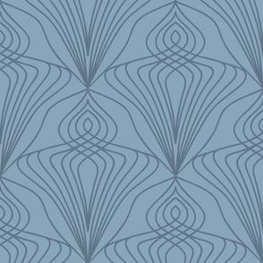 Art Nouveau diamond wallpaper scale in stone blue by Pippa Shaw