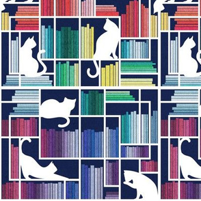Small scale // Rainbow bookshelf // navy blue background white shelf and library cats