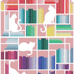 Large jumbo scale // Rainbow bookshelf // blush pink background white shelf and library cats