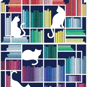 Normal scale // Rainbow bookshelf // navy blue background white shelf and library cats