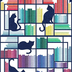 Normal scale // Rainbow bookshelf // white background navy blue shelf and library cats