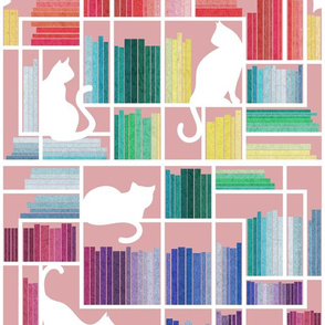 Normal scale // Rainbow bookshelf // blush pink background white shelf and library cats