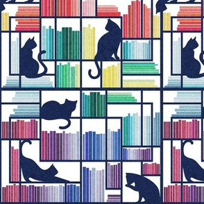Small scale // Rainbow bookshelf // white background navy blue shelf and library cats