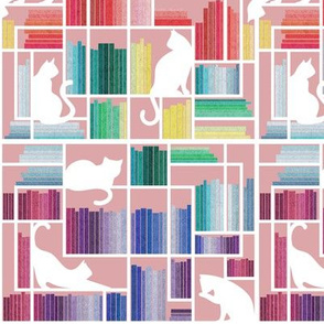 Small scale // Rainbow bookshelf // blush pink background white shelf and library cats