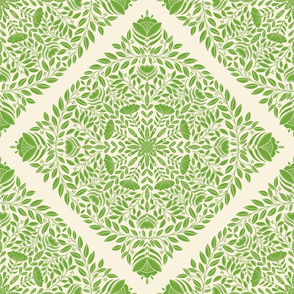 Bright green floral wreath, nature leaves and flowers, botanical pattern