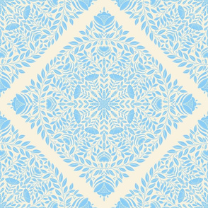 Light blue floral wreath, nature leaves and flowers, botanical pattern