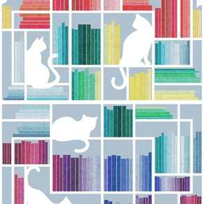 Normal scale // Rainbow bookshelf // pastel blue background white shelf and library cats