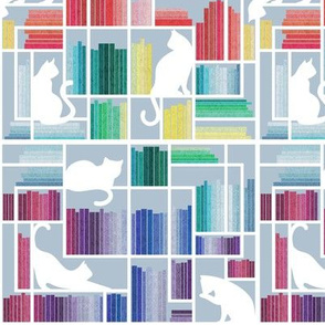 Small scale // Rainbow bookshelf // pastel blue background white shelf and library cats