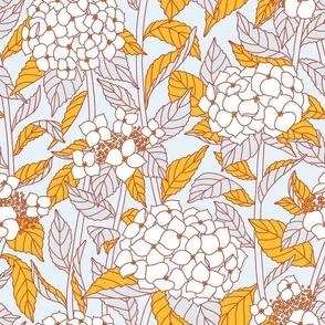 Golden leaf hydrangeas pattern