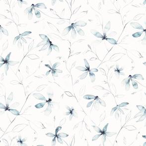 Clematis / blue watercolor floral medium scale