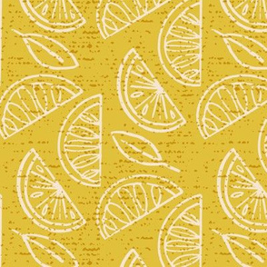 Lemon Slices and Leaves ~ Yellow