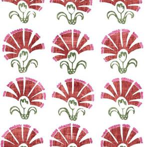 Fan Flower in red/pink