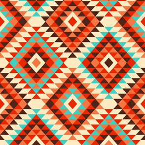 Colorful kilim diamonds autumn aztec colors Wallpaper Fabric