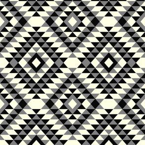 Farmhouse neutrals kilim diamonds traditional aztec black, cream, gray modern Wallpaper Fabric