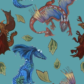 dragon pattern with leaves-teal