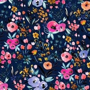 Anali floral pinks on navy