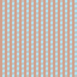 JP18 - Miniature - Art Deco Checked Stripes in  Sky Blue and Peachy Mauve