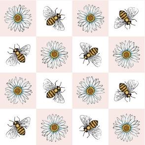 Daisies and Bees Checker Board