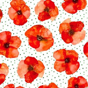 Californian poppy meadow with dots - watercolor poppies florals