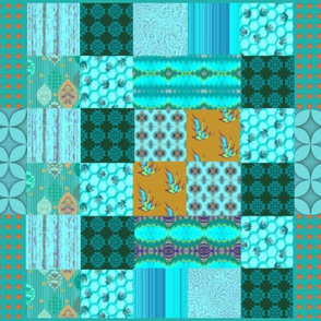 One Yard Cyan Cheater Quilt