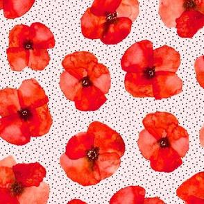 Californian poppy meadow - watercolor poppies florals 311