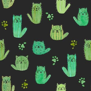 Cat-cus! Cactus cats and paws on BLACK