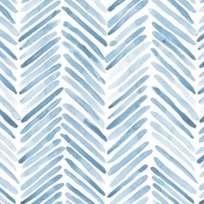 Baby blue herringbone - watercolor brush stroke abstract geometric painted pattern