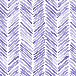 Amethyst herringbone - watercolor brush stroke abstract geometric painted pattern in purple shades